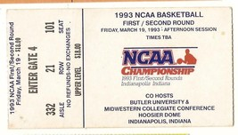 1993 NCAA Championship 1st 2nd Round Ticket Stub Indianapolis 3/19/93 af... - $45.00