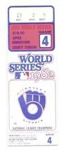1982 World Series Ticket Stub game 4 Cardinals Brewers - $107.53