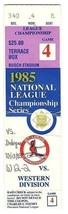 1985 NLCS ticket stub Cardinals Dodgers Game 4 Championship NL MLB Playoffs - $42.08