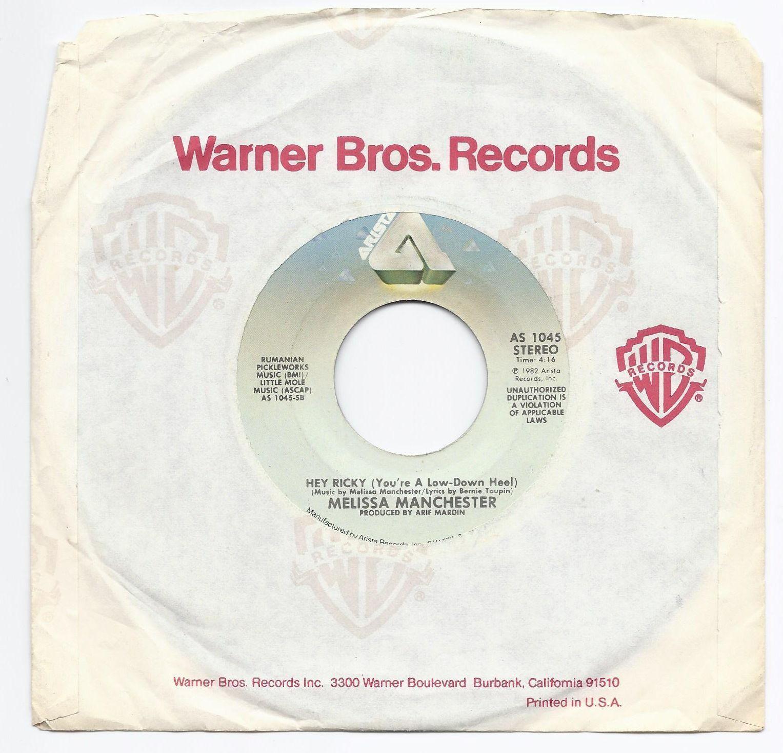 "1982 Melissa Manchester Hey Ricky / Nice Girls 7"" 45 Record Arista image 2"