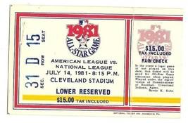1981 MLB Baseball All Star Game Ticket Stub Cleveland - $116.88