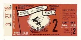 1971 ALCS Game 2 ticket stub Orioles A's Championship - $95.00