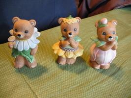8768 Set Of Three Flower Bears HOMCO Figurines - $18.99