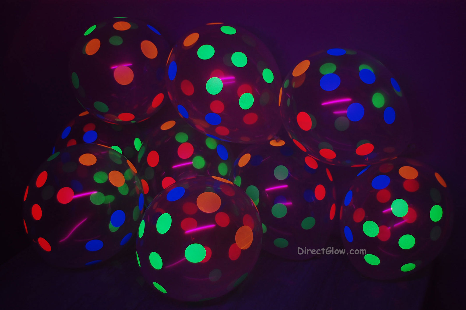 25 Pack Clear Latex 11 inch UV Blacklight Reactive Neon Polka Dot Balloons