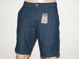 Armani Exchange Authentic Two Tone Chambray Shorts Dark Indigo Nwt - $44.71