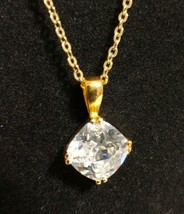 "Cookie Lee Pendant Necklace Genuine Cubic Zirconia Square 6 Ct 18"" - $10.89"