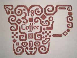 Tribal Coffee monochrome cross stitch chart White Willow stitching - $6.95