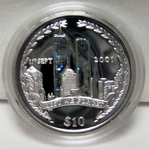 BVI 9-11 TRIBUTE WTC HOLOGRAM '02 LE SILVER PROOF COIN uncirculated - $97.99