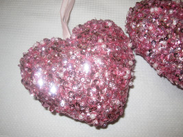 Lot of (3) NEW Valentines Pink Heart Sequins Glitter Pearl Ornaments Dec... - $19.99