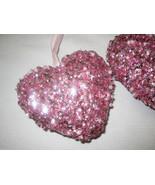 Lot of (3) NEW Valentines Pink Heart Sequins Glitter Pearl Ornaments Dec... - $19.99
