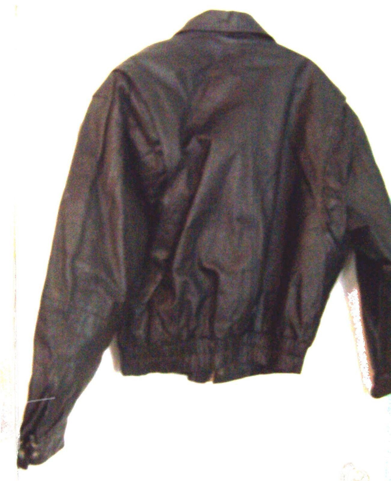 Global Identity Mans Black Leather Zip Up Bomber Jacket Size Medium  image 3