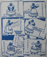 Black Americana Mammy DOW kitchen towels transfer embroidery pattern mo849 - $5.00