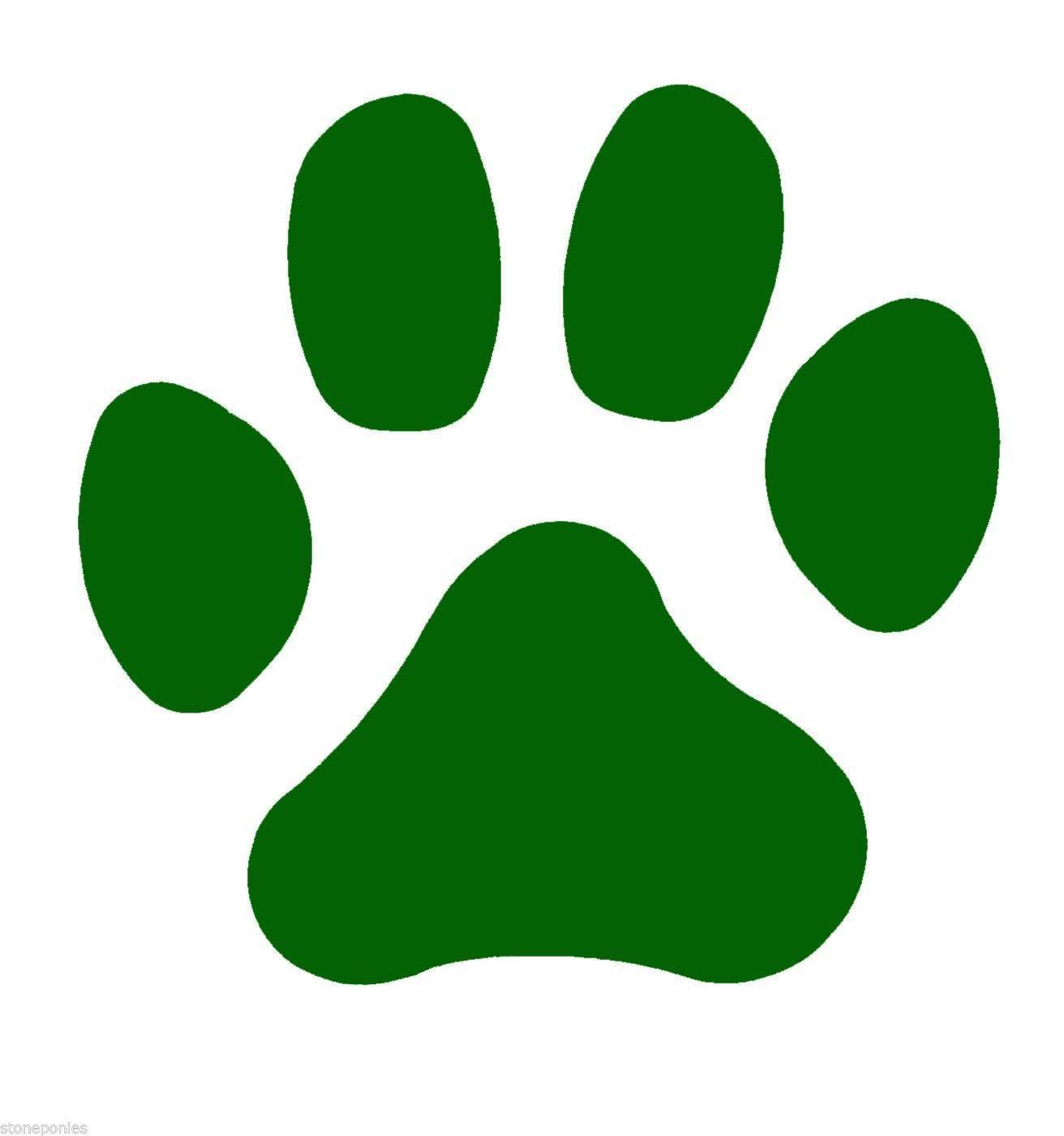 Green Bobcat Paw Print
