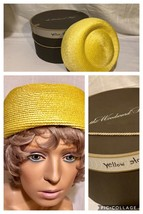 Vintage Bright Yellow Pillbox Women's Hat & Hat Box-EXCELLENT Condition ... - $23.36