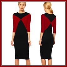 Long Diagonal Color Block Red or Green Designer Midi Length Pencil Dress
