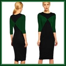 Long Diagonal Color Block Red or Green Designer Midi Length Pencil Dress image 2