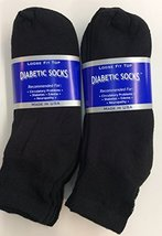 6 Pairs of Mens Black Diabetic Ankle Socks 10- 13 Size [Health and Beauty] - $13.85