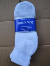 3 Pair White Diabetic Ankle Socks. 9-11 Size [Health and Beauty] - $5.93