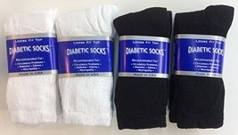 12 Pairs of Mens Black and White Diabetic Crew Socks 10- 13 Size - $21.77