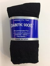 3 Pairs of Mens Black Diabetic Crew Socks 10- 13 Size [Health and Beauty] - $6.92