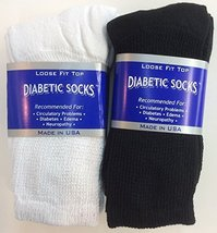 6 Pairs of Mens Black and White Diabetic Crew Socks 10- 13 Size - $12.86