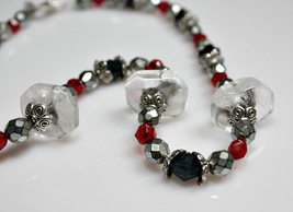 Beaded Necklace - Vintage Faceted Glass And Lucite Beads / Tibetan Silve... - $8.50