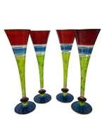 """4  Pier 1 Imports 10 1/2"""" Hand Blown Champagne Flutes Red Band w/Scrolls... - $39.60"""