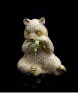 Herend Porcelain Panda Eating Bamboo Figurine, VHJM---15348, Yellow Fishnet - $424.99