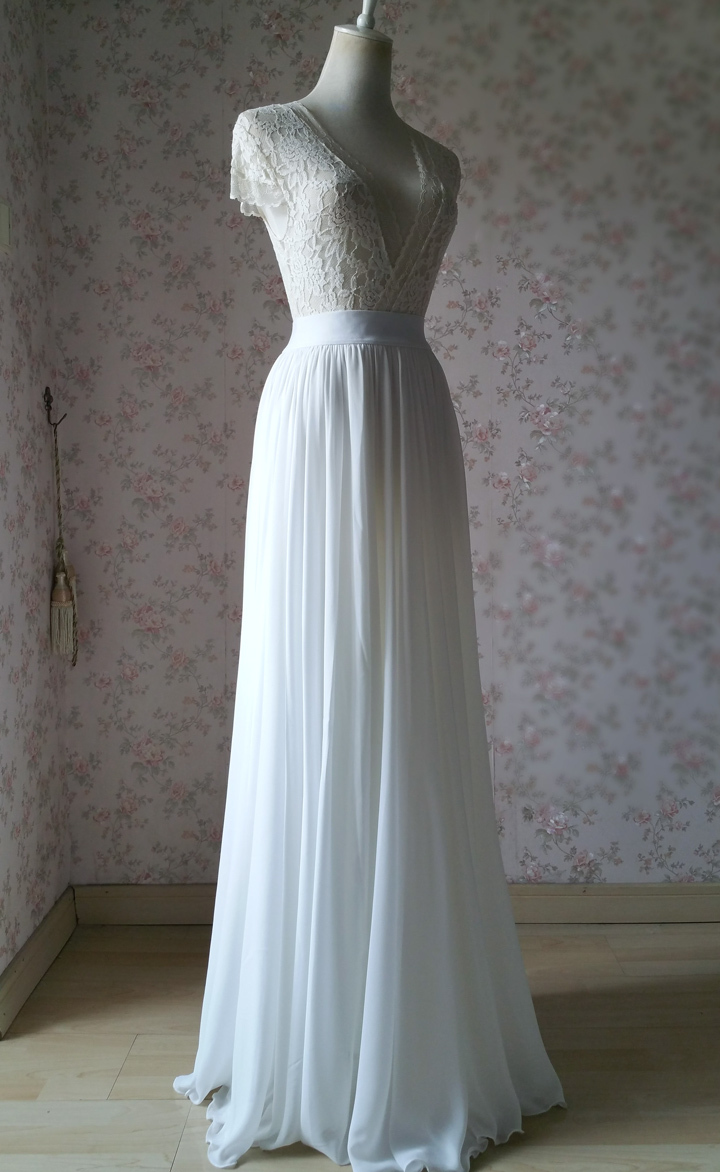 WHITE Chiffon Maxi Skirt Full Long Chiffon Skirt White Wedding Bridesmaid Skirt