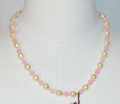 MARVELLA Faux Pearl Pink Glass Bead Beaded Gold Tone Choker Necklace Vin... - $16.83