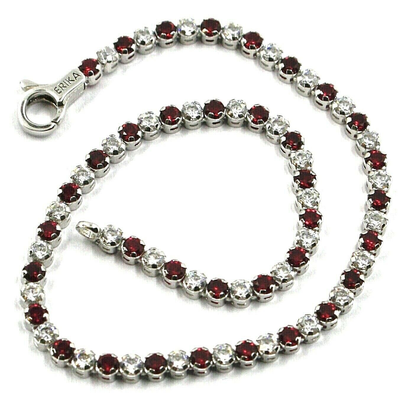 18K WHITE GOLD TENNIS BRACELET RED CUBIC ZIRCONIA 2.5mm LOBSTER CLASP CLOSURE