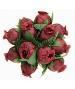 144 BURGUNDY Poly Rose Bud Silk Favor Flower Pick Wedding Shower - $6.99