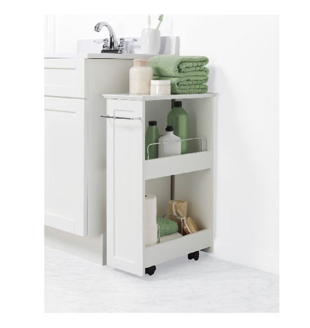 Bath Cart Rolling Storage Shelves Bathroom Organizer Slim Mobile Portable Shelf
