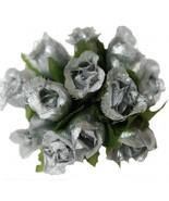 144 SILVER Poly Rose Bud Silk Favor Flower Pick Wedding Shower - $6.99