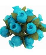 144 TURQUOISE Poly Rose Bud Silk Favor Flower Pick Wedding Shower - $6.99