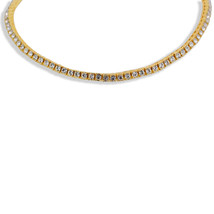 14K Gold Plated Iced Out Hip Hop Bling 1 Row Lab Diamond Tennis Chain 20... - $24.99