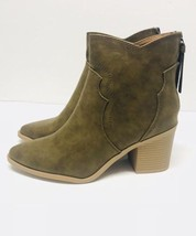 Soda Boots/Booties Size 8 Olive Green Vegan/Faux Leather - $30.84