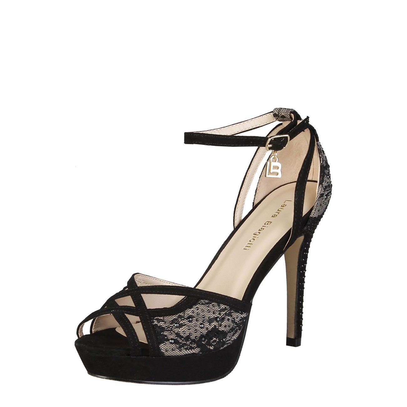 Womens Sexy Stiletto Sandals Shoes Laura Biagiotti - 423_CLOTH Black Beige Heel