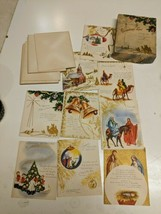 "9 Vintage Christmas Cards & Envelopes Scripture Text Original Box 4"" x 5""  - $9.49"