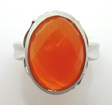 10k Gold Checkerboard Cut Genuine Natural Carnelian Ring (#J1777) - $361.25