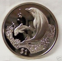 BVI DOLPHIN MOTHER & BABY with CORAL 2005 CUNI COIN uncirculated - $23.51