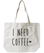 I Need Coffee Canvas Tote Bag - 100% Cotton Eco Bag, Shopping Bag, Book Bag - £12.82 GBP