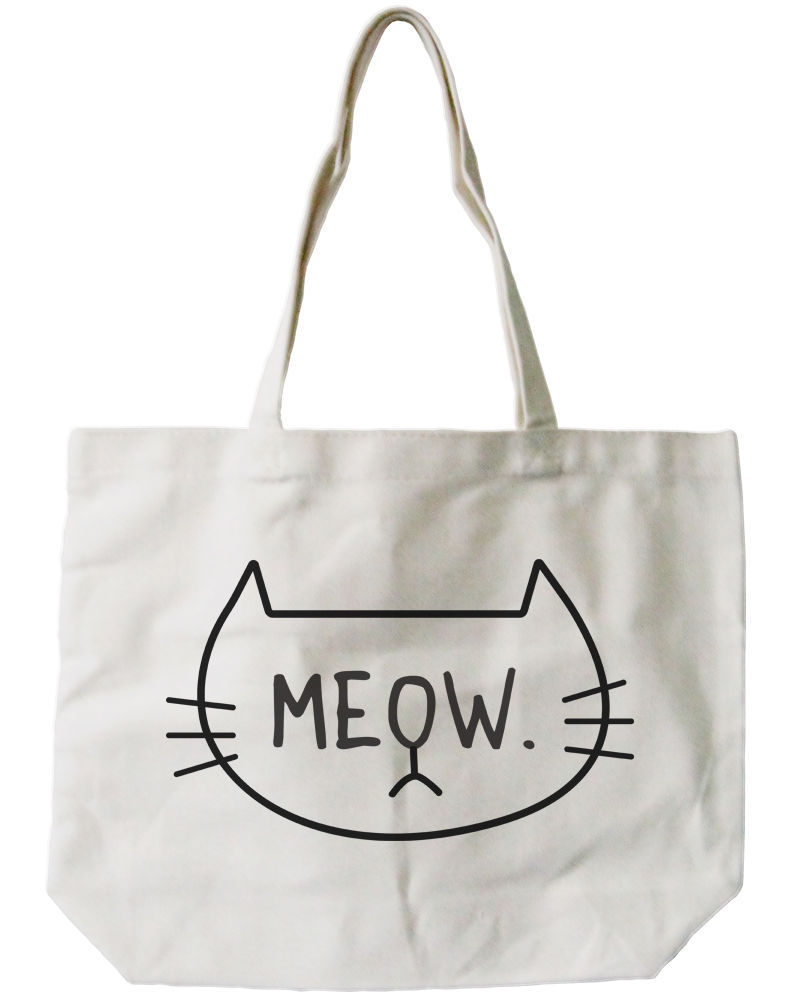 Meow Cat Canvas Tote Bag - 100% Cotton Eco Bag, Shopping Bag, Book Bag