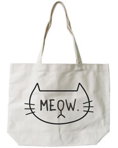 Meow Cat Canvas Tote Bag - 100% Cotton Eco Bag, Shopping Bag, Book Bag - $15.99