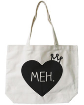 Princess Crown Canvas Tote Bag - 100% Cotton Eco Bag, Shopping Bag, Book... - $21.25 CAD