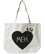 Princess Crown Canvas Tote Bag - 100% Cotton Eco Bag, Shopping Bag, Book... - $15.99