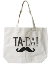 Ta-da! Mustache Canvas Tote Bag - 100% Cotton Eco Bag, Shopping Bag, Boo... - $15.99