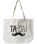 Ta-da! Mustache Canvas Tote Bag - 100% Cotton Eco Bag, Shopping Bag, Boo... - $15.99