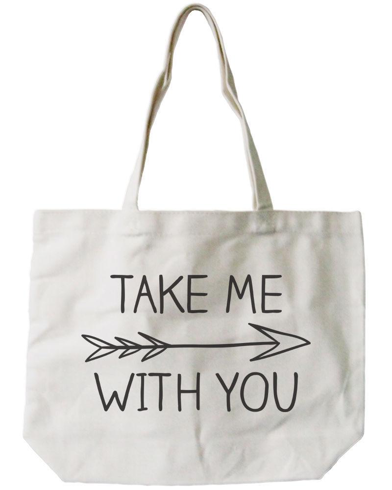 Take Me With You Canvas Tote Bag - 100% Cotton Eco Bag, Shopping Bag, Book Bag
