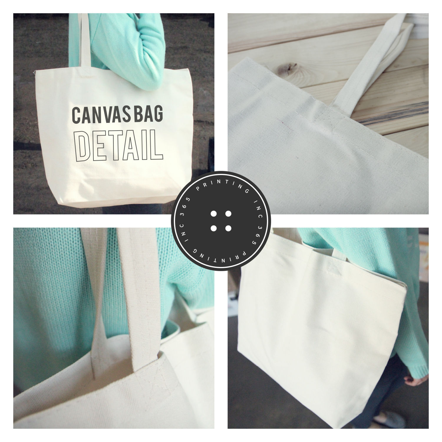 Ta-da! Mustache Canvas Tote Bag - 100% Cotton Eco Bag, Shopping Bag, Book Bag